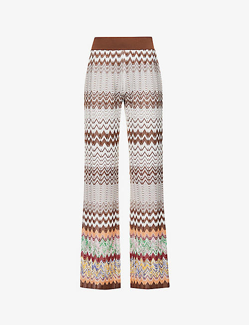 MISSONI: Zigzag-print flared high-rise woven trousers
