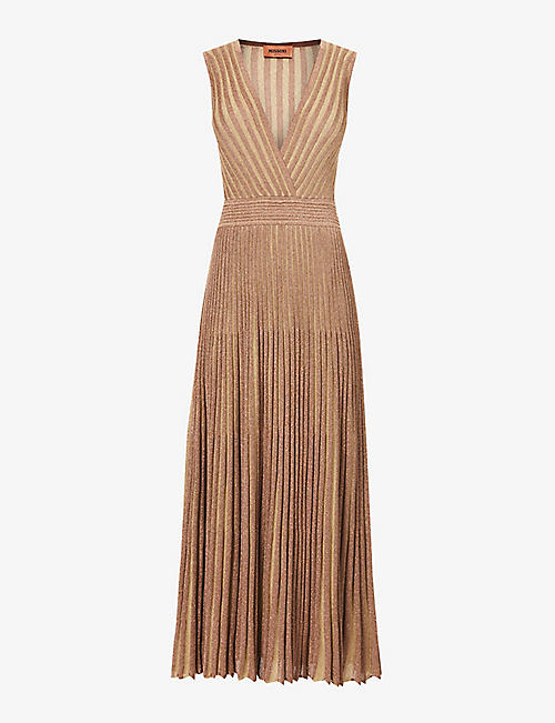 MISSONI: Metallic-thread striped woven maxi dress