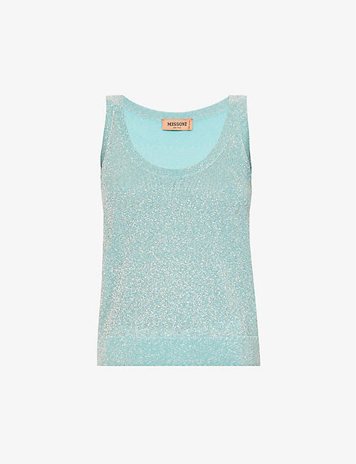 MISSONI: Metallic scoop-neck woven tank top