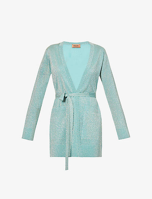 MISSONI: Metallic V-neck belted cardigan