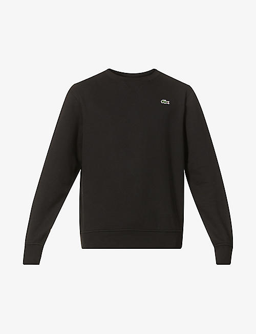 LACOSTE: Logo-embroidered cotton-blend sweatshirt