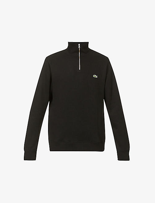LACOSTE: Logo-embroidered half-zip cotton-knit sweatshirt