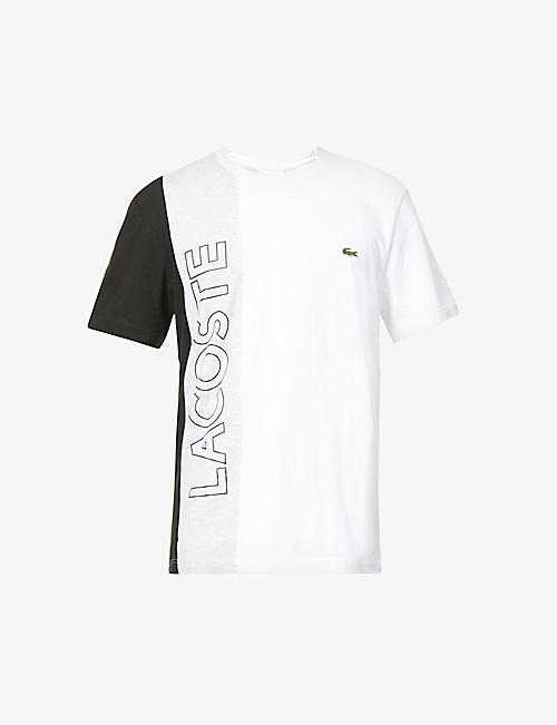 LACOSTE: Colour-blocked cotton-blend T-shirt