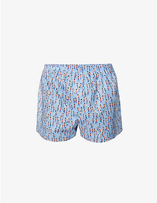 SUNSPEL: Liberty Marching Band graphic-print cotton-poplin boxer shorts