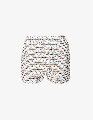 SUNSPEL: Parakeet graphic-print cotton-poplin boxer shorts