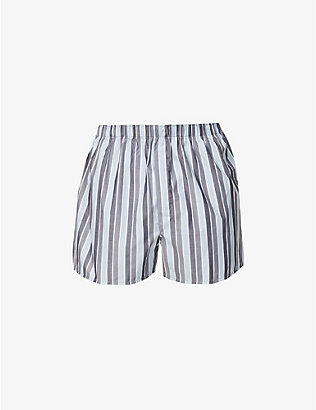SUNSPEL: Striped relaxed-fit cotton-poplin boxer shorts