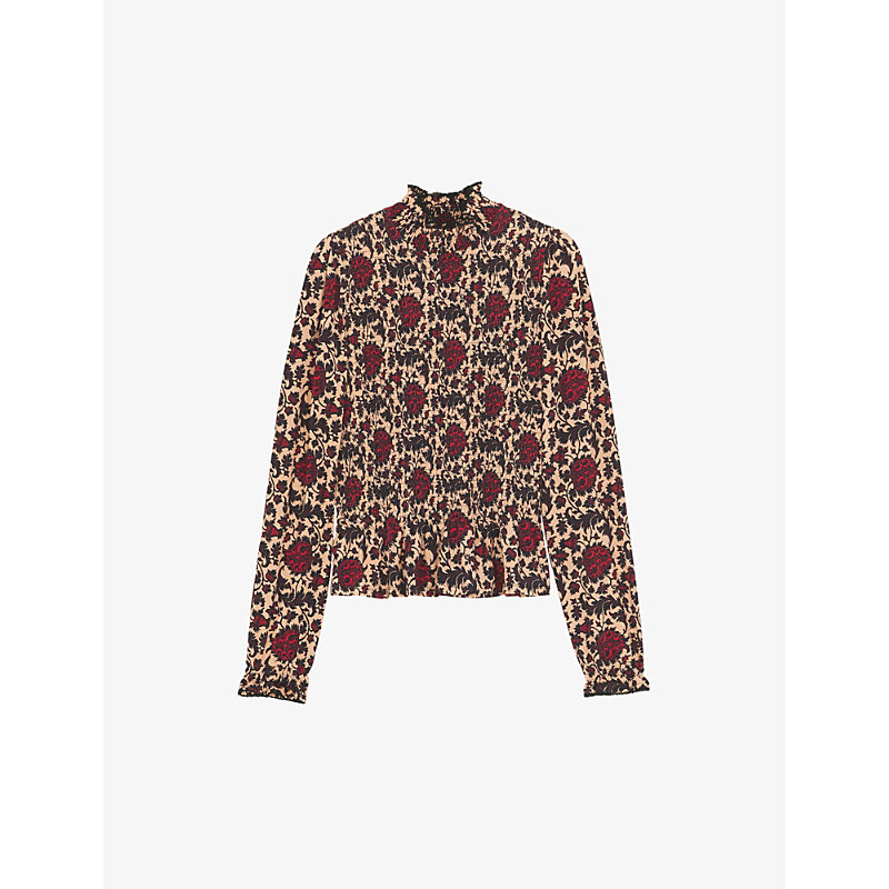 Sandro Blouses CONSTANTIN FLORAL-PRINT STRETCH-WOVEN TOP