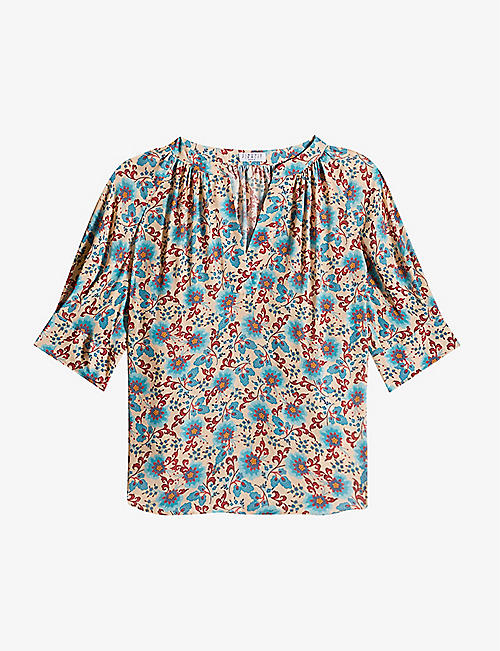 CLAUDIE PIERLOT: Bianca floral-print woven and silk-blend top