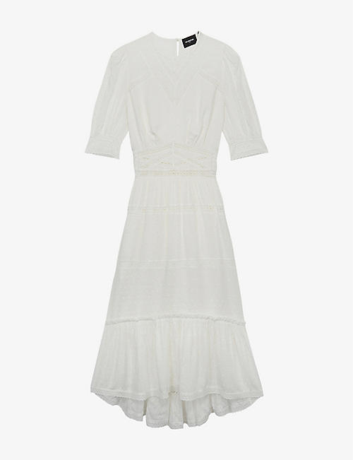 THE KOOPLES: Ruffle-trimmed V-neck woven midi dress