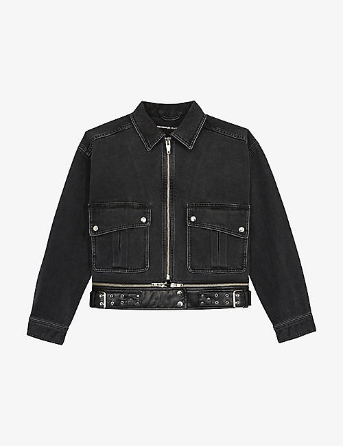 THE KOOPLES: Relaxed-fit denim biker jacket