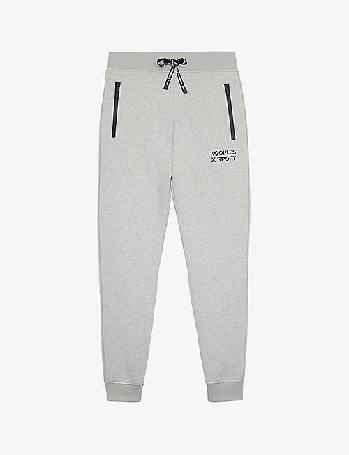 THE KOOPLES SPORT: Logo-print tapered mid-rise knitted jogging bottoms