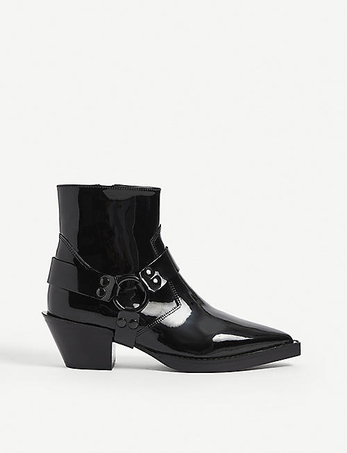 THE KOOPLES: Patent leather ankle boots