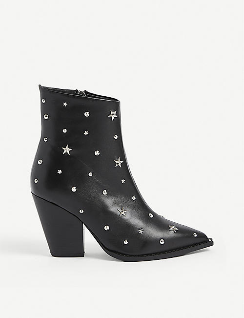 THE KOOPLES: Embossed leather ankle boots