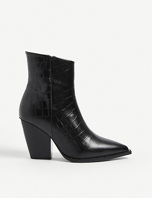 THE KOOPLES: Crocodile-embossed leather heeled ankle boots