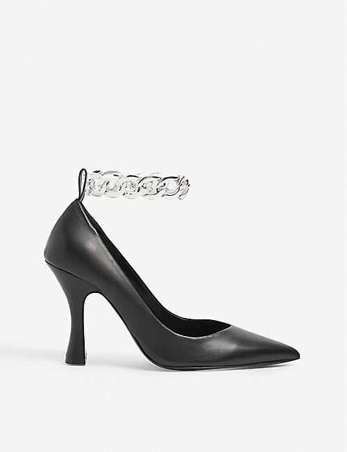 THE KOOPLES: Ankle-chain leather heeled court shoes