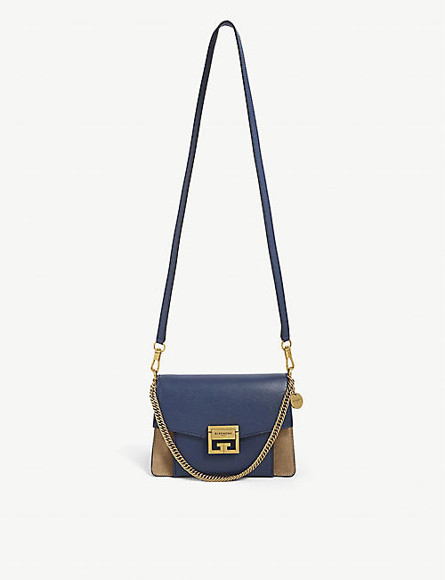 GIVENCHY: GV3 small grained-leather and suede cross-body bag