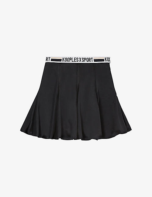 THE KOOPLES SPORT: Branded high-waisted woven mini skirt
