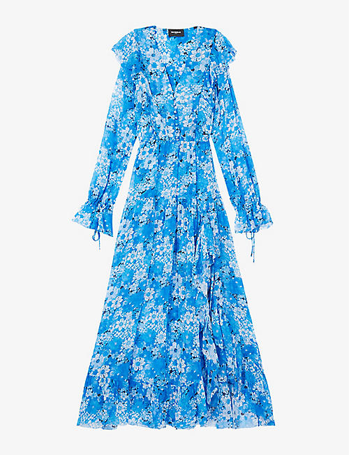 THE KOOPLES: Floral-print V-neck crepe maxi dress