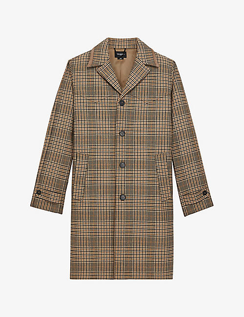 THE KOOPLES: Checked single-breasted cotton-blend coat