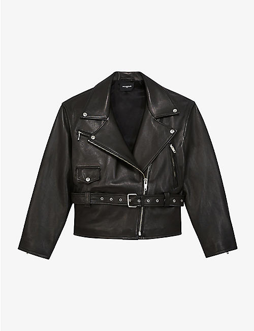 THE KOOPLES: Cropped leather jacket