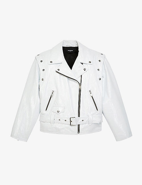 THE KOOPLES: Detachable sleeve patent leather jacket