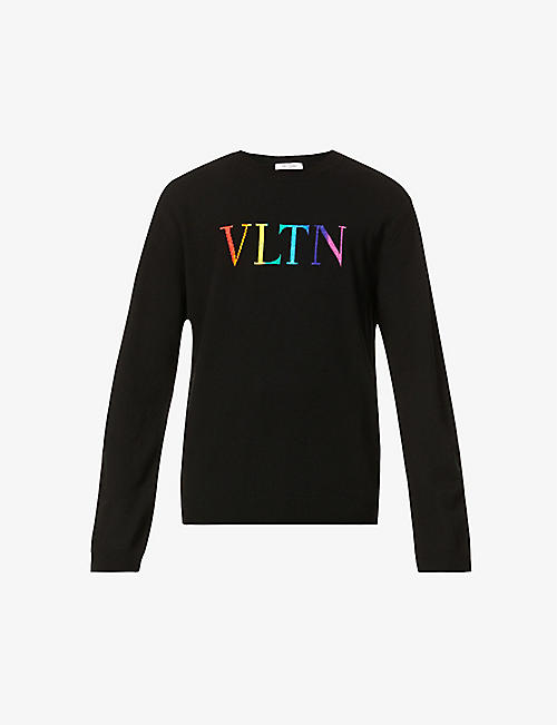 VALENTINO: Logo-pattern crewneck wool and cashmere-blend jumper