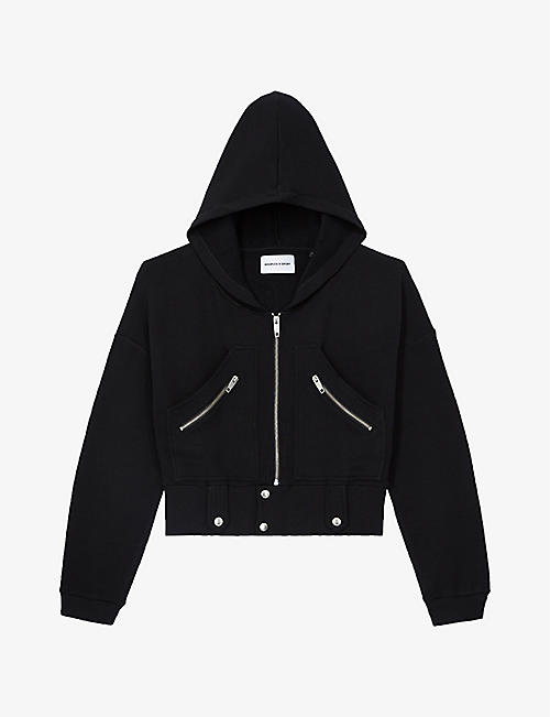 THE KOOPLES SPORT: Cropped stretch-cotton hoody
