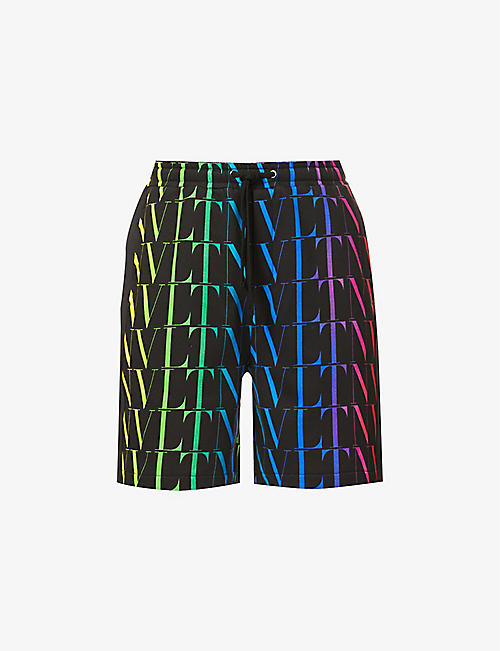 VALENTINO: VLTN-print drawstring-waistband cotton-blend shorts