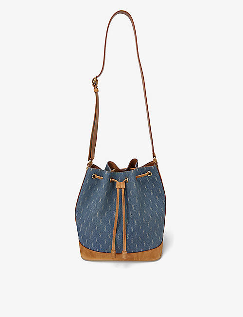 SAINT LAURENT: Monogram denim and suede bucket bag