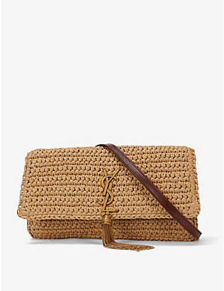 SAINT LAURENT: Kate 99 raffia and leather shoulder bag