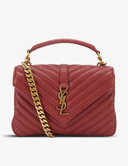SAINT LAURENT: College small monogram quilted leather shoulder bag