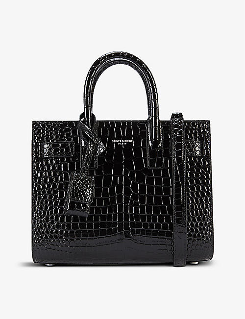 SAINT LAURENT: Nano Sac de Jour croc-embossed leather cross-body bag