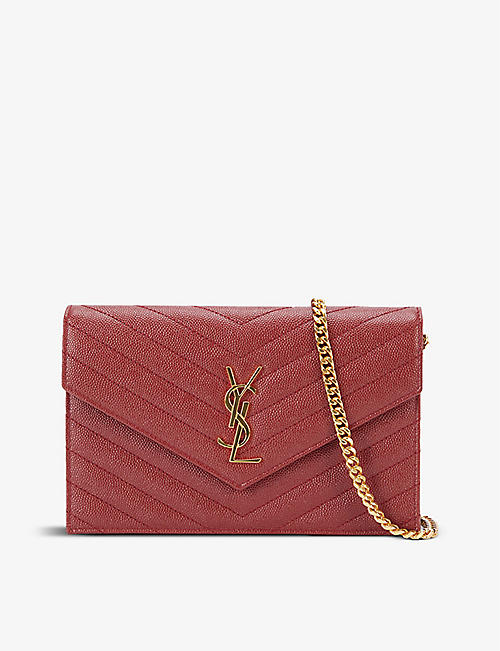 SAINT LAURENT: Monogram envelope leather shoulder bag
