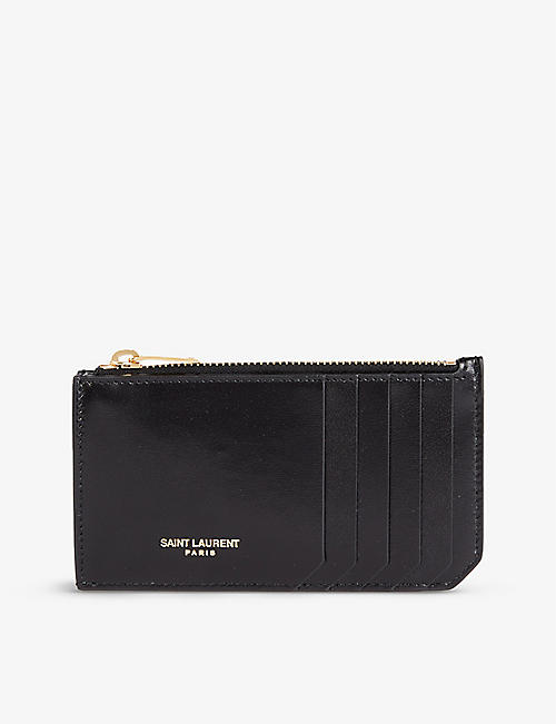 SAINT LAURENT: Rive Gauche branded leather card holder