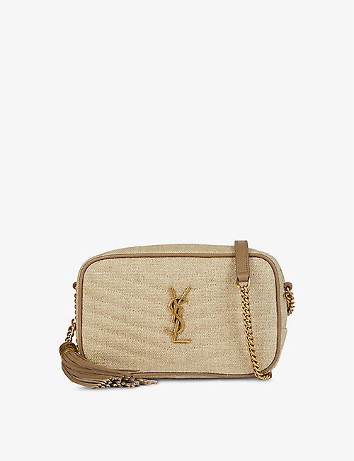 SAINT LAURENT: Lou mini linen and leather crossbody bag