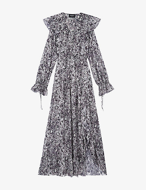 THE KOOPLES: Ruffled floral-print woven maxi dress