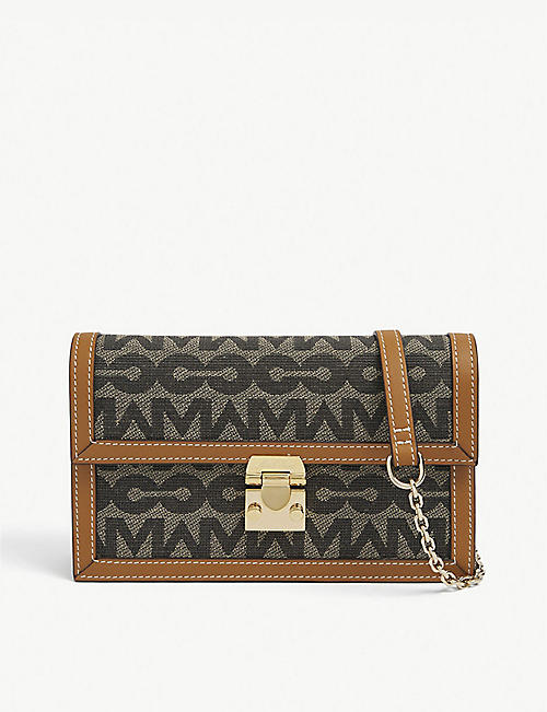 MARK CROSS: Carrie leather and canvas-blend cross-body bag