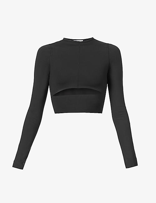 REEBOK X VICTORIA BECKHAM: Cut-out cropped stretch-woven top