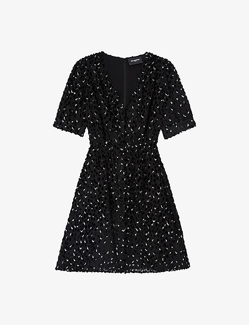 THE KOOPLES: Polka dot-embellished crepe mini dress