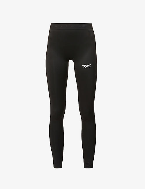 REEBOK X VICTORIA BECKHAM: Logo-print mid-rise stretch-recycled polyester leggings