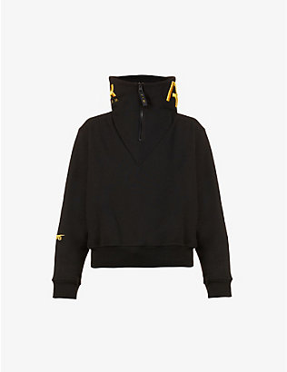 REEBOK X VICTORIA BECKHAM: Logo-embroidered funnel-neck cotton jumper