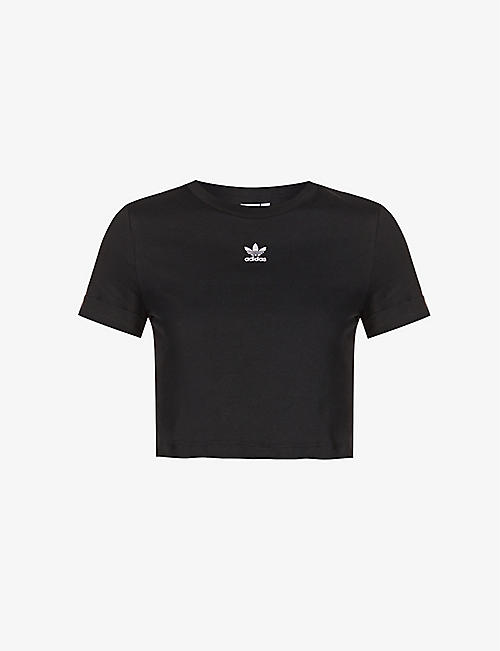 ADIDAS ORIGINALS: Logo-embroidered cropped cotton-jersey top