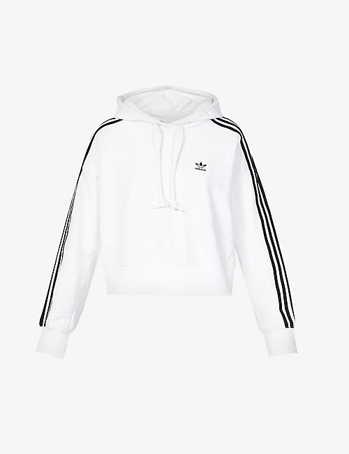 ADIDAS ORIGINALS: Logo-embroidered cropped cotton-jersey hoody