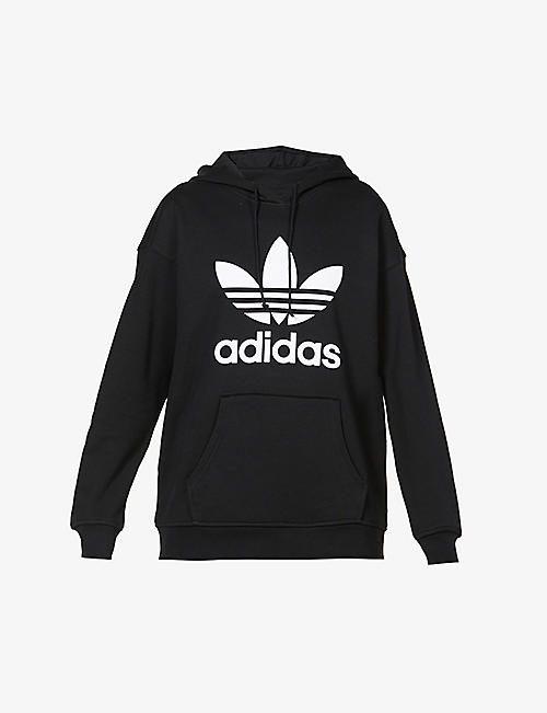 ADIDAS ORIGINALS: Logo-embroidered cotton-jersey hoody