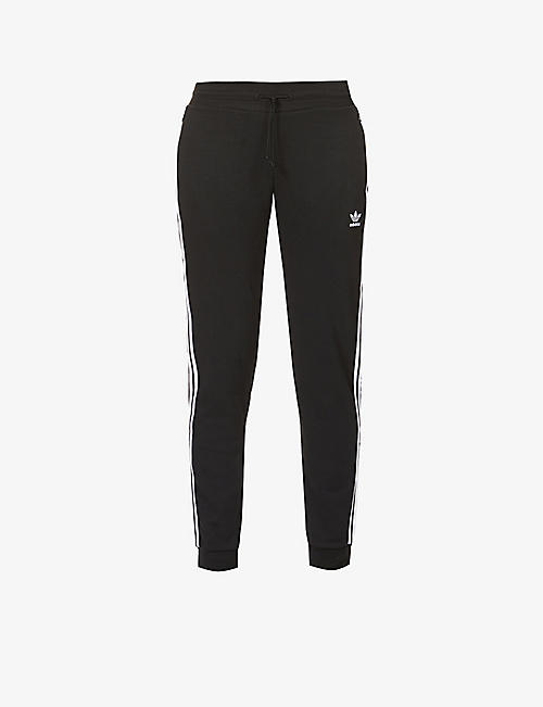 ADIDAS ORIGINALS: Logo-print mid-rise cotton- and recycled-polyester blend jogging bottoms