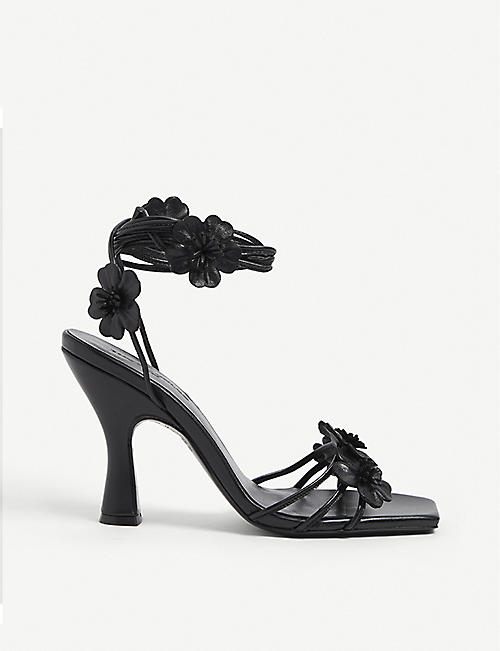 THE KOOPLES: Floral-embellished leather heeled sandals