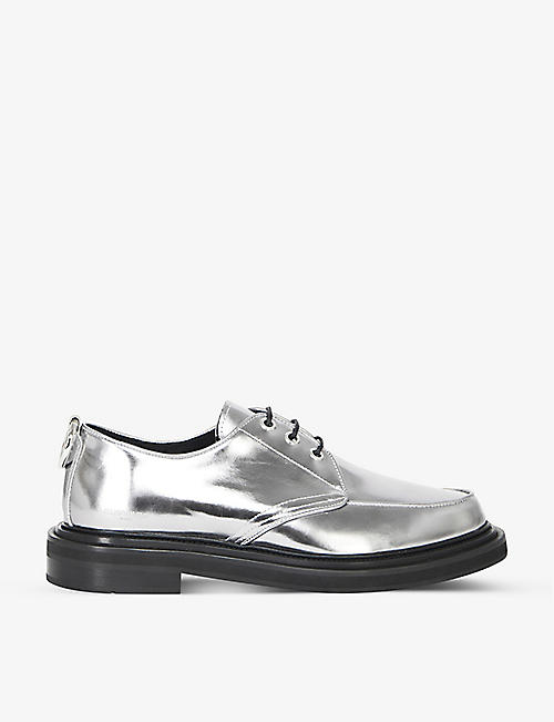 THE KOOPLES: Ring-detail metallic-leather Derby shoes