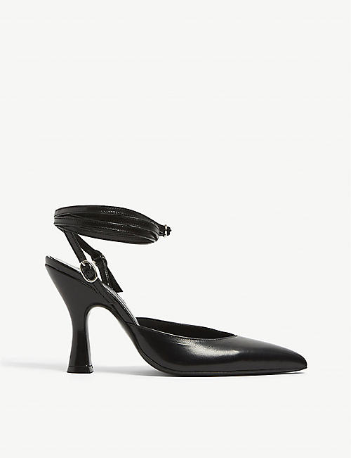 THE KOOPLES: Lace-up pointed-toe leather heeled sandals