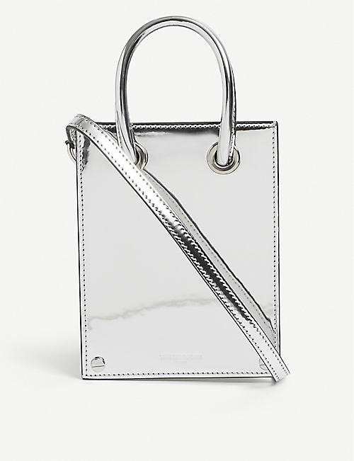 THE KOOPLES: Holographic micro woven top-handle bag