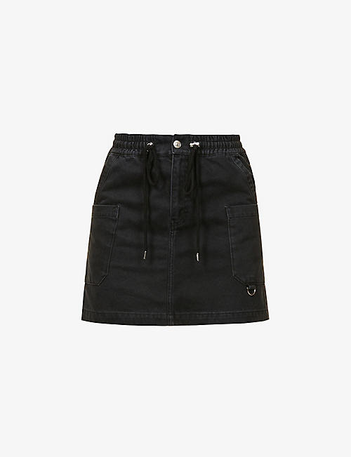 THE KOOPLES SPORT: Drawstring high-waist denim mini skirt